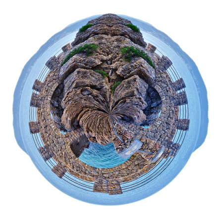 small planet of Alassio with a bridge along the coast overlooking the Mediterranean Sea, in Italy