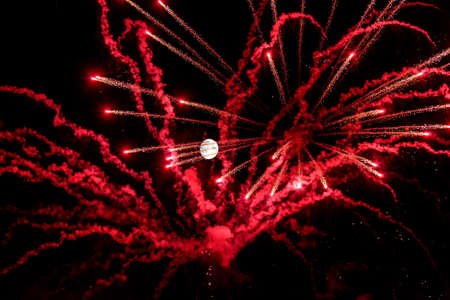 spectacular New Year's Eve with fireworks and full moon to celebrate the arrival of the New Year