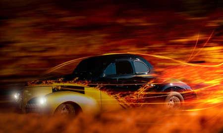 Photo pour classic hot rod speeding through the night depiction - image libre de droit