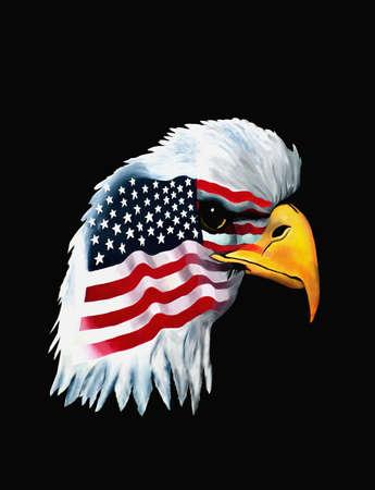 patriotic American bald eagle on black background