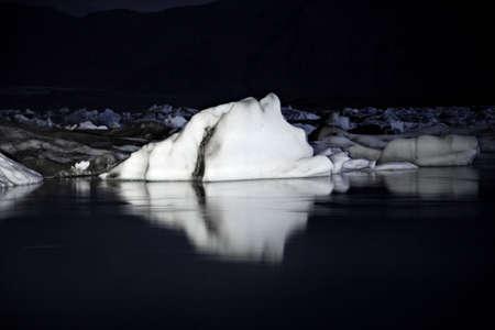Icebergs at night Jokulsarlon lagoon Iceland
