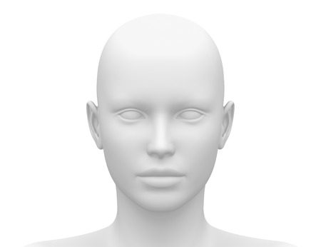 Photo for Blank White Female Head - Front view - Royalty Free Image