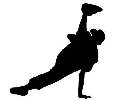 Silhouette of hip hop dancer over a white background