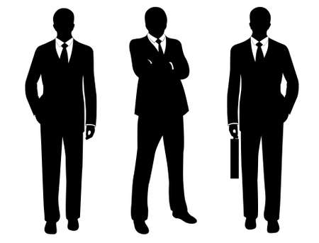 Ilustración de businessmen in suit silhouette isolated on white - Imagen libre de derechos