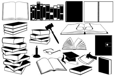 illustration of different kind of books and accessories