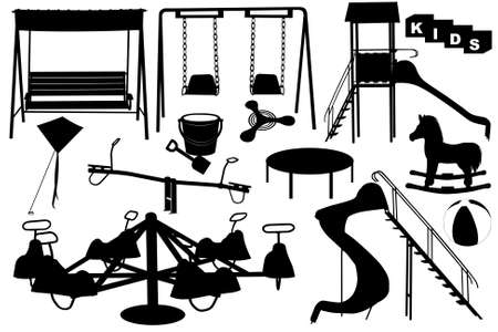 Playground illustration with different objects
