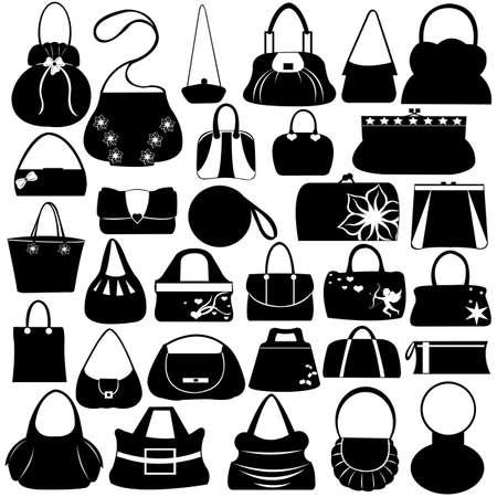 Illustration pour Female purse set isolated on white - image libre de droit