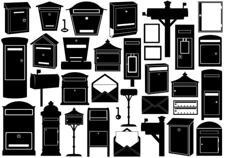 Set of different mailboxes isolated on white