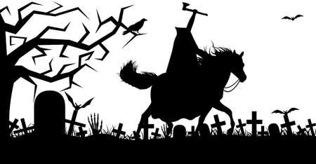 Illustration pour Illustration of a headless horseman isolated on white - image libre de droit
