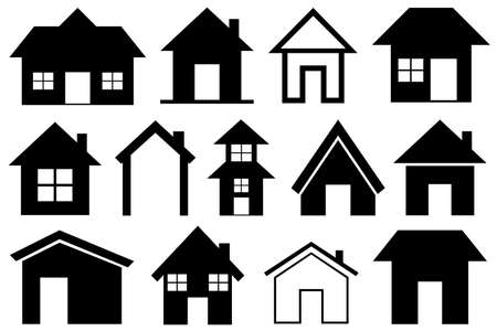 Illustration for Illustration of different houses isolated on white - Royalty Free Image