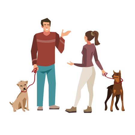 Young people ( guy and girl) talking while walking their dogs. Illustration of people with pets isolated on white background