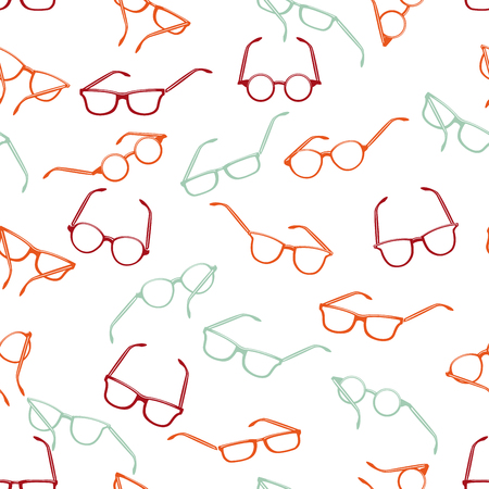 Seamless retro sunglasses on white background