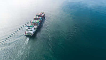 Photo for Large container ship at sea. Aerial top view of cargo container ship vessel import export container sailing. - Royalty Free Image
