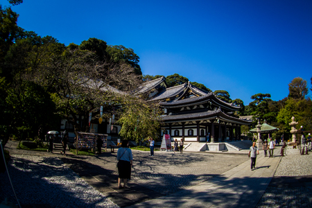 Kannon-do or Main hall of Hase-dera Temple. Kamakura, Japan - Sep, 2018.