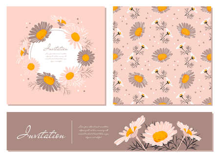 Illustration pour Flowers cards set Chamomile background Daisy wreath. Flowers and leaves of daisies on a gentle pink background. Vector floral invitations - image libre de droit