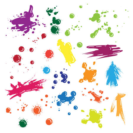 Illustration of isolated vector colored drops set