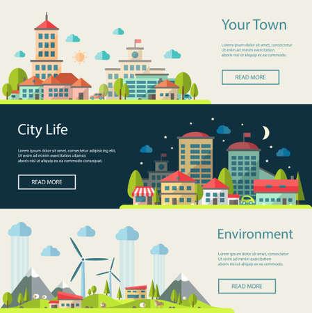 Illustration pour Set of vector illustration of flat design urban landscape compositions - image libre de droit