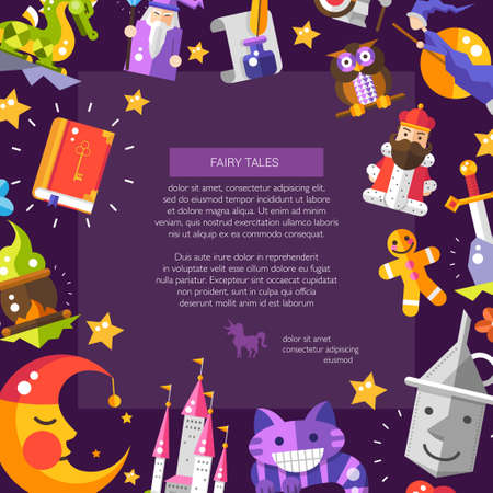 Illustration for Illustration of postcard with fairy tales flat design magic vector  icons and elements - Royalty Free Image