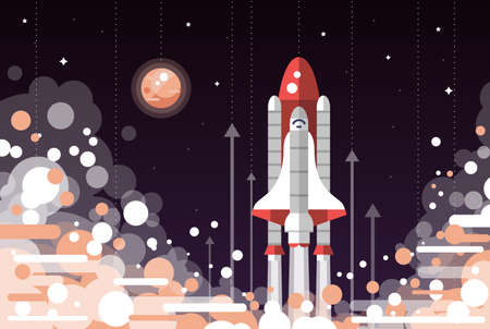Modern vectorflat design illustration of space shuttle launch
