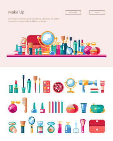 Set of flat design cosmetics, make up icons and elements with header banner illustration