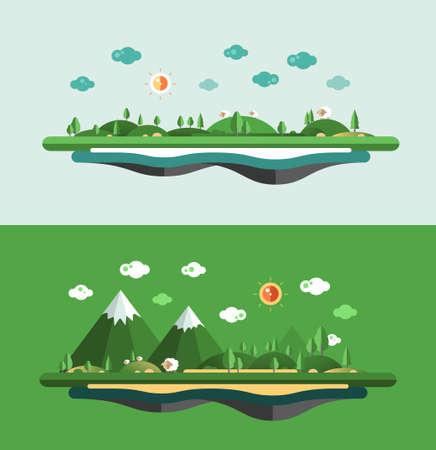 Modern vector flat design conceptual landscape illustration