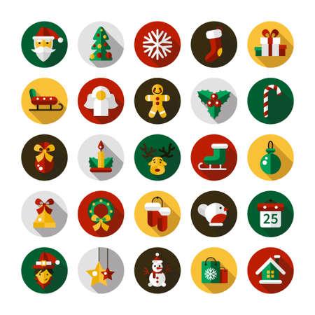 Ilustración de Set of Christmas and Happy New Year flat design vector icons - Imagen libre de derechos