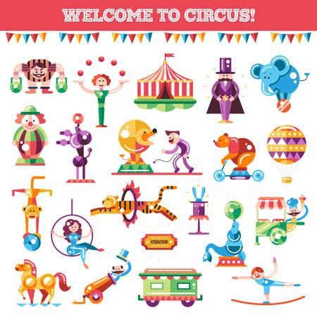Ilustración de Set of vector modern flat design circus and carnival icons and infographics elements - Imagen libre de derechos