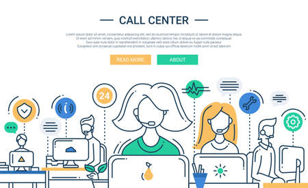 Illustration pour Illustration of vector modern line flat design composition and infographics elements with call center support team and its workplace. Header, banner for your website. - image libre de droit