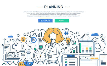 Illustration pour Illustration of vector modern line flat design planning process composition and infographics elements with a woman thinking. Header, banner for your website. - image libre de droit