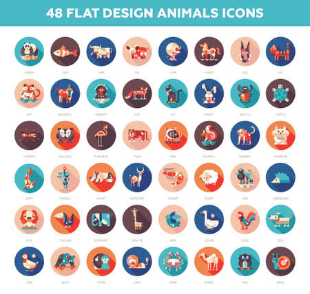 Illustration for Set of 48 modern vector flat design wild and domestic animals icons set - Royalty Free Image