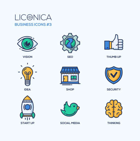 Illustration pour Set of modern vector office thin line flat design icons and pictograms. Collection of business infographics objects and web elements. Vision, SEO, thumb u p, idea, shop, security, start up, social media, thinking. - image libre de droit