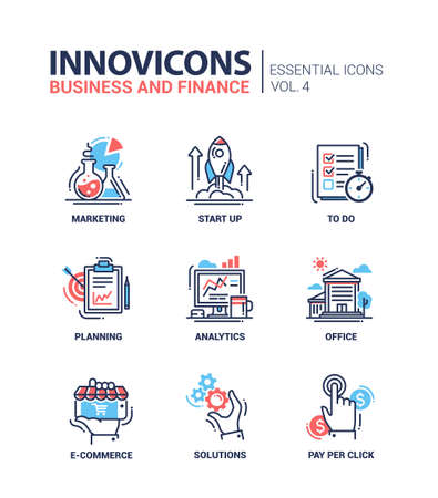 Set of modern vector office thin line flat design icons and pictograms. Collection of business and finance infographics objects and web elements. Marketing, start up, to do list, planning, analytics, office, e-commerce, solutions, pay per click.