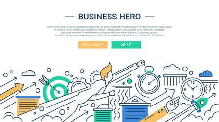 Ilustración de Illustration of vector modern line flat design business composition and infographics elements with super hero businessman - Imagen libre de derechos