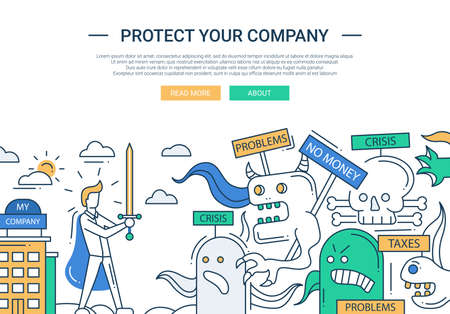 Ilustración de Illustration of vector modern line flat design protect your company composition and infographics elements with super hero businessman and business challenge - Imagen libre de derechos