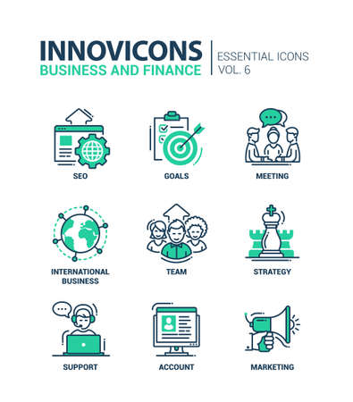 Illustration pour Set of modern vector office thin line flat design icons and pictograms. Collection of business and finance infographics objects and web elements. SEO, goals, meeting, international business, team, strategy, support, account, marketing - image libre de droit