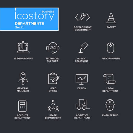 Set of modern vector office departments thin line flat design icons and pictograms.