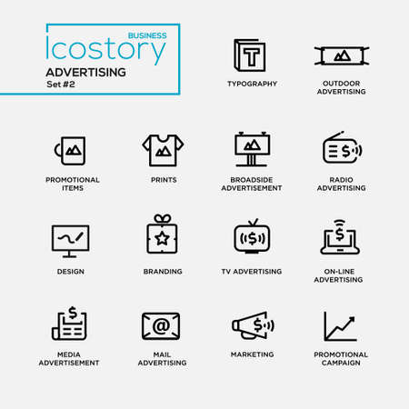 Illustration pour Set of modern vector advertising plain simple thin line design icons and pictograms. Collection of infographics objects and web elements. Typography, outdoor, boadside, media advertising, promotional items, prints, branding, marketing, campaign - image libre de droit