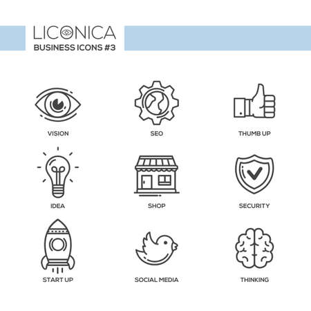 Illustration pour Set of modern vector office plain thin line flat design icons and pictograms. Collection of business infographics objects and web elements. Vision, SEO, thumb up, idea, shop, security, start up, social media, thinking - image libre de droit