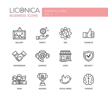 Illustration pour Set of modern vector office plain simple thin line flat design icons and pictograms. - image libre de droit