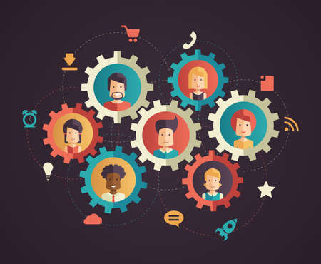 Illustration pour Modern flat designnetwork communication vector infographics illustration with people avatars in cogs and social networking pictograms and symbols - image libre de droit