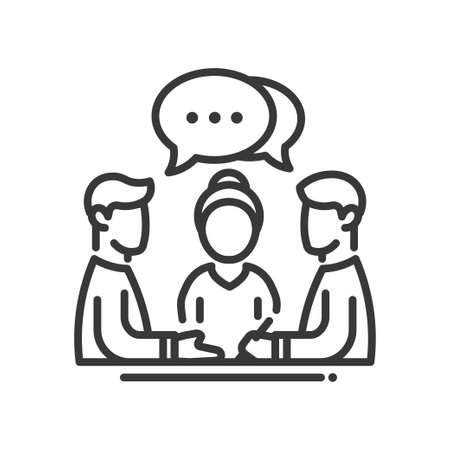 Illustration pour Business meeting single isolated modern vector line design icon. Group of people with a speech bubble with dots sign - image libre de droit