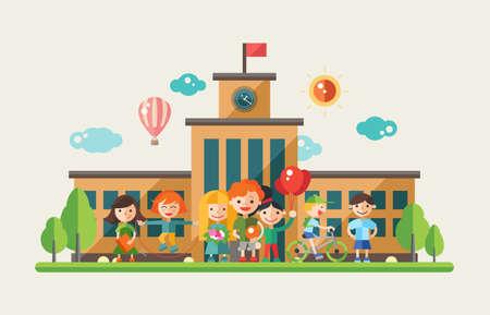 Foto de Children activity at school- modern vector flat design website banner, header with kids characters. - Imagen libre de derechos