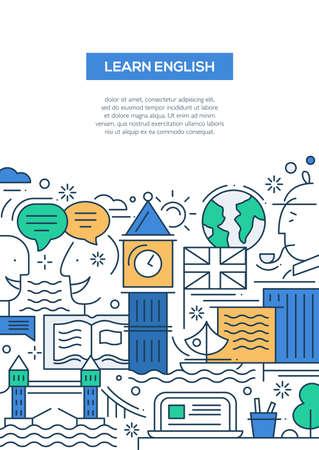 Illustration pour Learn English - vector modern line flat design traveling composition with British famous symbols and landmarks - image libre de droit