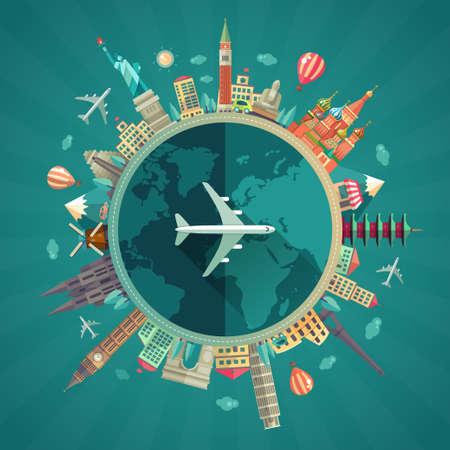 Illustration pour Vector illustration of flat design travel composition with famous world landmarks icons around the planet - image libre de droit