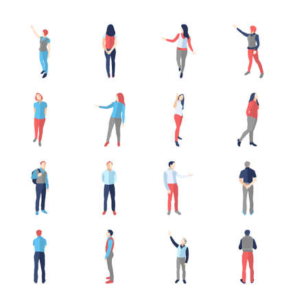 Illustration pour People, male, female, in different showing and browsing poses - modern vector flat design isolated icons set. - image libre de droit