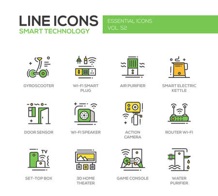 Smart Technology - modern vector line design icons and pictograms set. Gyrosooter, smart plug, air, water purifier, smart electric kettle, door sensor, router, set-top box, home theater, game console