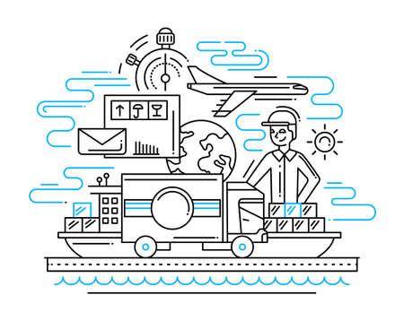 Illustration pour Delivery service line flat design illustration with male and cargo - image libre de droit
