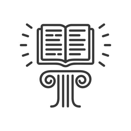 Flying Book - modern vector single line icon. An image of a book floating in the air above the pedestal, lines of text. Representation of education, learning, reading, knowledge.