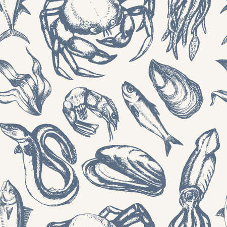 Delicious Seafood - hand drawn seamless pattern