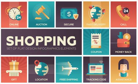 Ilustración de Set of modern vector flat design icons of shopping process elements. Online, secure, delivery, auction, coupon, assistance, call, location, tracking code, gift, money back, shipping - Imagen libre de derechos